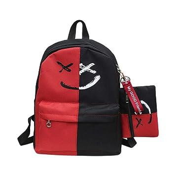 Gusspower Mochilas para Estudiantes Escolar Lona Grande Escuela Bolsa Lona Mochila de Dos Colores con Bolsa pequeña Cara Sonriente Impresa (Rojo): ...