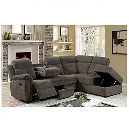 Delicieux AVIA Sectional Reclining Sofa W Drop Down Console Storage Chaise Padded  Arms Grey Linen Fabric Living