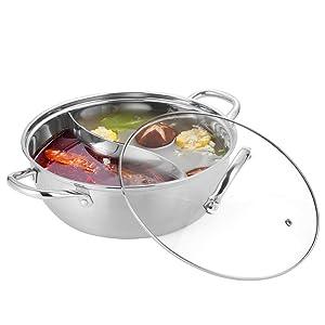 ArderLive Shabu Shabu 18/10 Stainless Steel & Glass Lid Hot Pot With Divider, 13 inch.