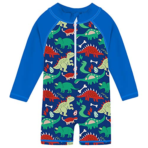 Uideazone Kids Little Boys One Piece Swimsuit Rash Guard Dinosaur Swimwear Sun Protective Surf Bathing Costumes Beachwear 24-36 Months ()