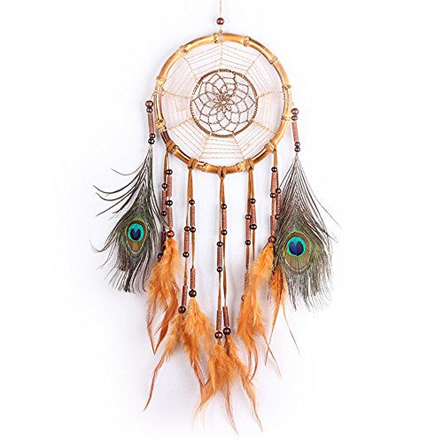 Dream Catcher,WayOn Handmade Rope Bamboo Circle Dream Catcher Wind Chimes Home Ornaments Novelty - Moon Wind Ornament