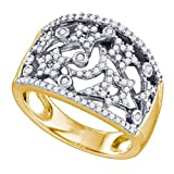 0.51 cttw 10k White and Yellow Gold Diamond Stars and Moon Wedding Band Celestial Anniversary Ring