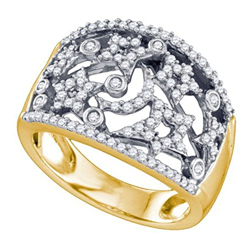 0.51 cttw 10k White and Yellow Gold Diamond Stars and Moon Wedding Band Celestial Anniversary Ring by pricegems