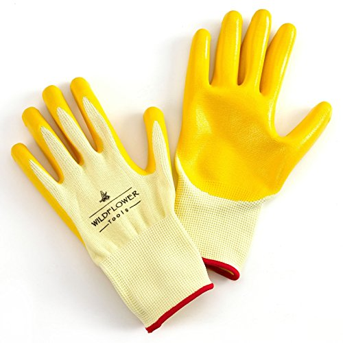 WILDFLOWER Tools Gardening and Work Gloves for Men and Women - Nitrile Coating Protection