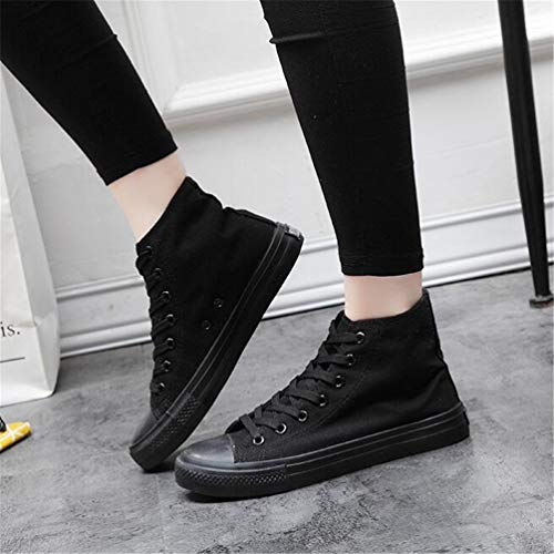 Unisex Negro Casual Mocasines Lona De Zapatos Zapatillas Cordones Todo PqUnwY88
