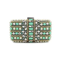 Luxury Beaded Metal Chain Clutch