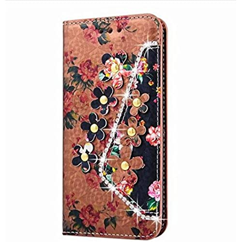 Samsung Galaxy S7 Edge Inch Photo Wallet Card Case,Auroralove Khaki Colorful Flower PU Leather Case for Samsung Sales