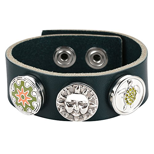 Valentines Gifts Menton Ezil Jewelry Mens Leather Bracelet for Men Cuff Punk Rock Adjustable Green - Summer Olympic Events All