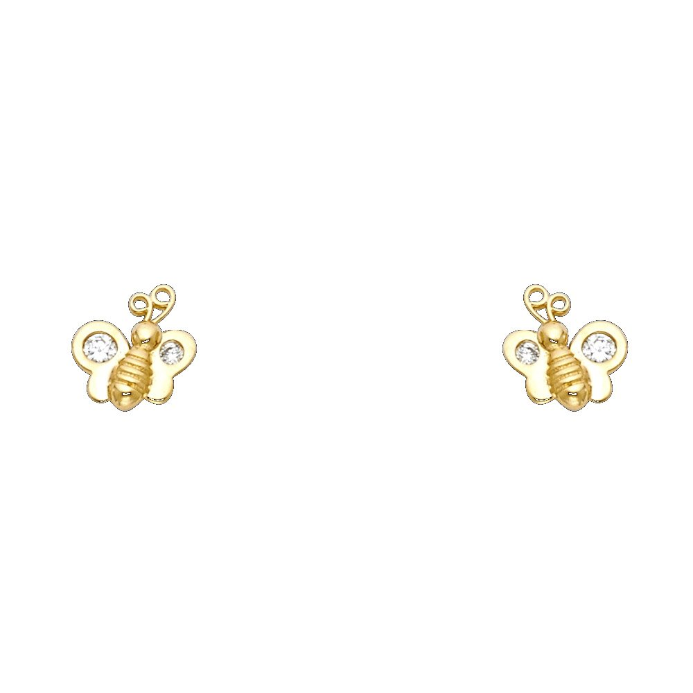 Ioka 14K Yellow Gold CZ Tiny Honey Bee Bumble Bee Screw Back Stud Earrings