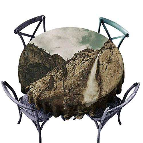 VIVIDX Round Tablecloth,Yosemite,Waterfalls in Yosemite National Park California Famous Travel Destination,Table Cover for Home Restaurant,67 INCH,Brown Reseda Green]()