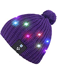 Qshell LED String Light Up Beanie Hat Knit Cap with Copper Wire Colorful Lights 4 feet 18 LEDs for Men Women Indoor and Outdoor, Festival, Holiday, Celebration, Parties, Bar, Christmas Gifts - Purple