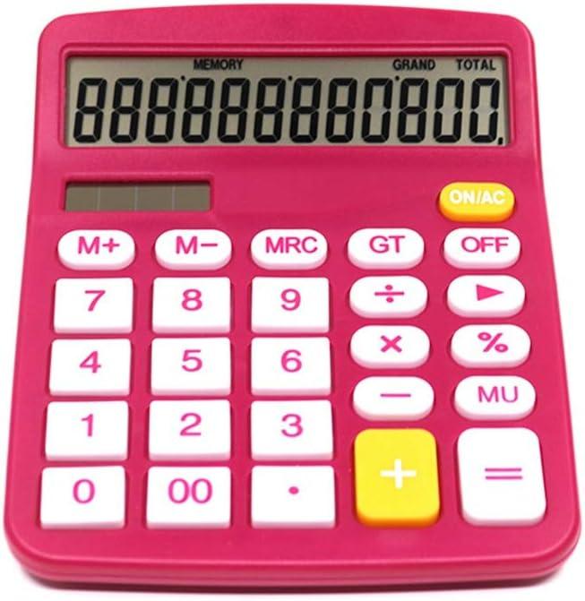 電卓 2個のローズレッド電卓12桁ソーラー電卓標準機能エレクトロニクスデスクトップ電卓 電卓小 (色 : Photo Color, Size : One size)