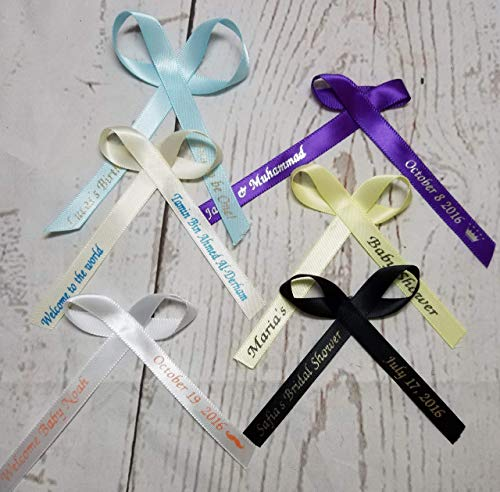Party Personalized Birthday Favor - 50 Personalized Ribbons for Bridal Shower Wedding Party Favors or Baby Showers - Custom Made Pack of Cut Ribbons