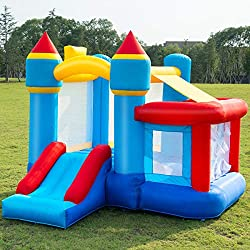 Costzon Inflatable Bounce House, Slide Bouncer Kids Jump Castle w/Basketball, 50 PCS Balls Without Blower