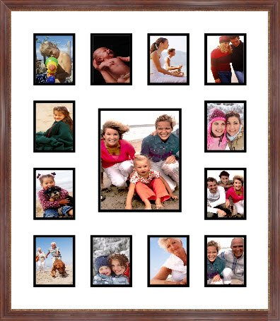 Amazon.com - Mahogany Collage Picture Frame with 1 8X10 and 12 4X5 ...