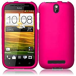 Compatible with HTC One SV(Cricket, Boost) Rubberized Cover - Hot Pink