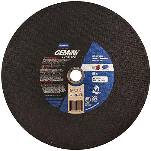 Norton Gemini Long Life Chop Saw Reinforced Abrasive Cut-off Wheel, Type 1 Flat, Aluminum Oxide, 1