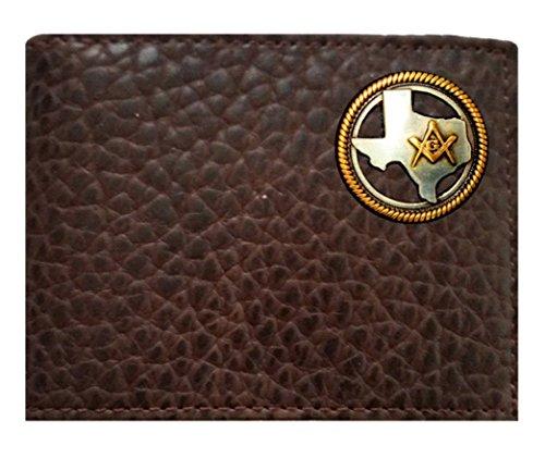 Brown Proudly ID Mason Texas made Flip USA fold in Leather Chocolate Bi Concho Rugged on Wallet Buffalo Custom American the a z1aq7Baw