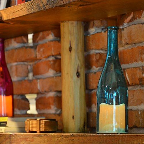 YAKii 11 LED Bottle Candle, Wine Bottle with LED Flameless Candle Light, Yellow Light Flicker Battery Operated, Blue