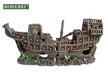 Patrimonio ws005 m Acuario Peces Tanque grande barco Sunken Ship naufragio figura pintada a mano tamaño grande (55 cm): Amazon.es: Productos para mascotas