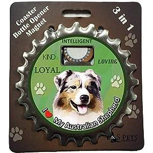 E&S Pets Australian Shepherd Bottle Opener, Coaster and Magnet 26