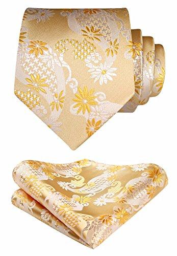 SetSense Mens Tie Handkerchief Jacquard Woven Classic Necktie & Pocket Square Set