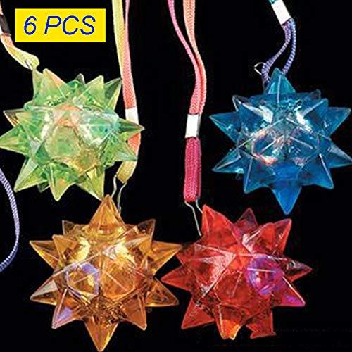 YOTHG 6Pcs Light-Up Flashing Star LED Ball Pendant Necklace Flashing Blinking Crystal Star Necklace Pendants Rave Toys Random Color(Random Color)]()
