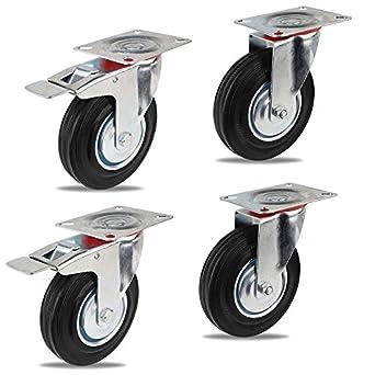 Ruedas de Transporte de transporte Ruedas cargas pesadas rollos de muebles (2 x Ø 125mm