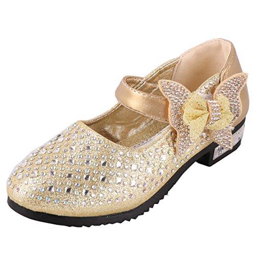 iTvTi Girls Sparkle Mary Jane Princess Shoes Ballet Toddler Sandals Gold