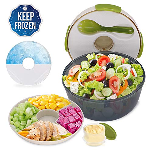 - CHAUDER Reusable Salad Container To Go for Lunch with Dressing Dispenser and Ice Pack, 5 Cup Large Capacity Mixing Bowl, PVC, BPA-Free, FDA Passed, Perfect for Women, Men, Kids, With Fork
