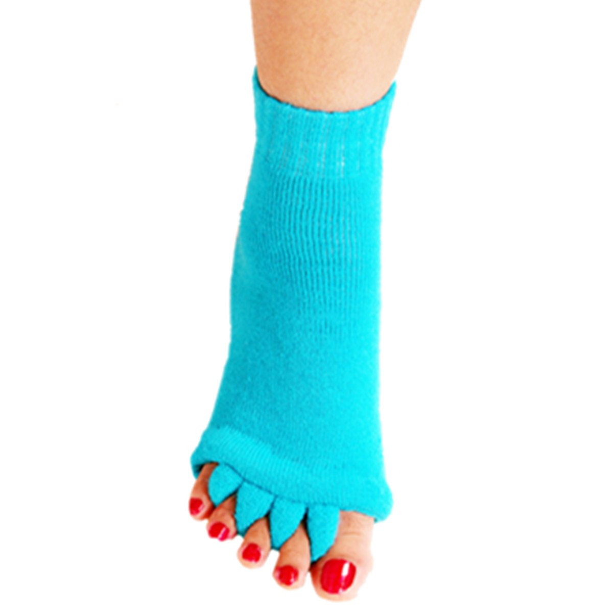 1 Pair Yoga GYM Massage Five Toe Separator Socks Foot Alignment Pain Relief Hot (One Size, A-Sky Blue)