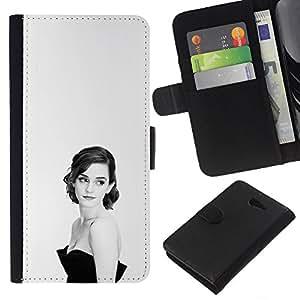 """A-type (Mujer Elegante"""") Colorida Impresión Funda Cuero Monedero Caja Bolsa Cubierta Caja Piel Card Slots Para Sony Xperia M2"""