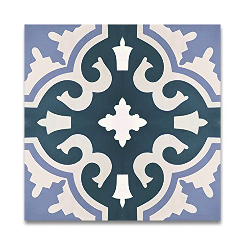 Moroccan Mosaic & Tile House CTP06-07 Tanger 8''x8'' Handmade Cement Tile in Multicolor (Pack of 12), Blue White - Tanger Style