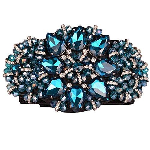 SanJL Women's Elastic Stretch Waist Belt for Dress Crystal Waistband (Turquoise A)