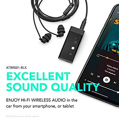 ATECH Micro Wireless Receiver 5.0 Portable Car Receiver 3.5mm Aux Adapter for Earphones/Headphones/Car Audio System Compatible with Smartphone Tablet MP3 and More (Black)