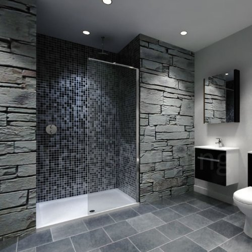Recess Walk-in Bathroom Shower Enclosure 1400 x 900mm Stone Resin Tray & 900 Wide Glass Wet Panel by A&R - In The Ac Walk