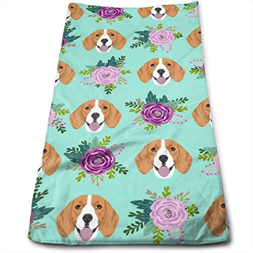 Beagle Florals Purple And Mint Design Cute Florals And Dog Design Hand Towels Dishcloth Floral Linen Hand Towels Super Soft Extra Absorbent for Bath,Spa and Gym 11.8
