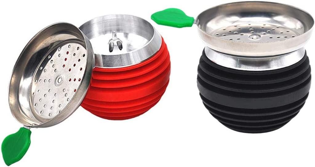 KKDUCK Hookah Bowl with Charcoal Holder Silicone Stainless Steel 2pcs Black and Red 3.3inch Height 3inch Diameter Shisha Hookah Set