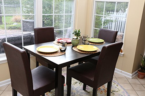 Great Amazon.com   5 PC Espresso Leather Brown 4 Person Table And Chairs Brown  Dining Dinette   Espresso Brown Parson Chair   Table U0026 Chair Sets
