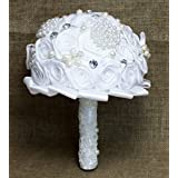 Wedding Bouquet ,Bride Holding Flowers ,Love Forever (White)