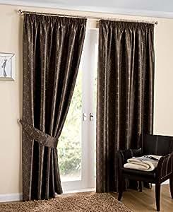 """Lujo con Forro de tejido de círculos abstracto listo para cortinas plisadas, café/marrón–64""""x 72"""""""