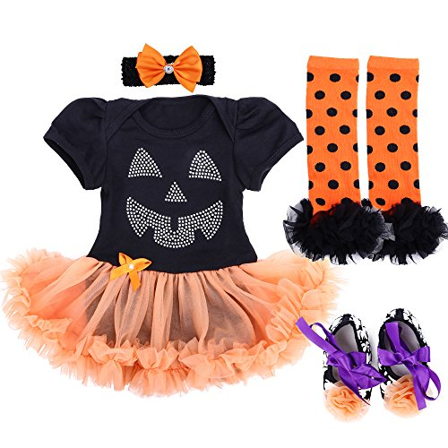 Top 10 Baby Girl Halloween Costumes (TANZKY Baby Girl Halloween Costumes Tutu Dress Outfits Newborn Infant Romper Set)