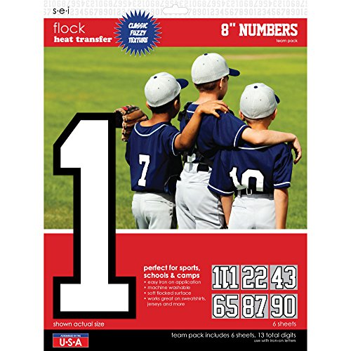 Iron Jersey Letters - SEI 8-Inch Iron-On Team Pack Numbers, White