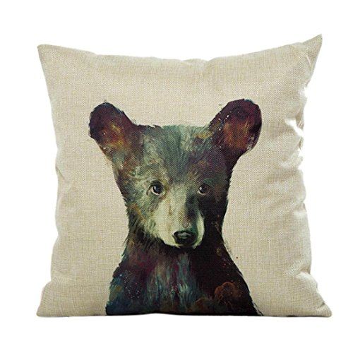 Fheaven Cute animals Pillow Case Sofa Waist Throw Cushion Cover Home Decor for Merry Christmas and Halloween(Cats, dogs, bears, rabbits) (A)