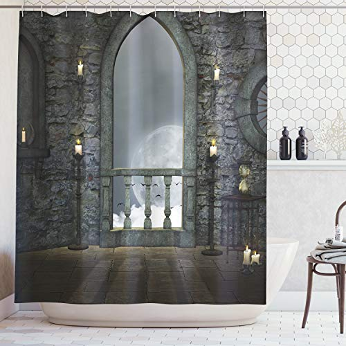Ambesonne Gothic Decor Collection, Full Moon Birds Fairytale Fantasy Old Castle Balcony Candle and Night View, Polyester Fabric Bathroom Shower Curtain Set with Hooks, 75 Inches Long, Grey Ivory - Castle Curtain