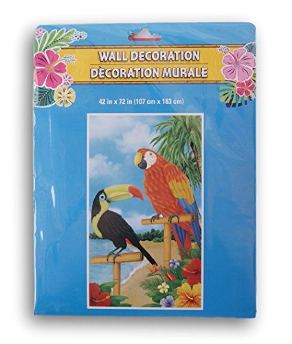 Greenbrier Changing Spaces Beach Themed Decorative Door or Wall Banner - 42x72 Inches (Parrot) -