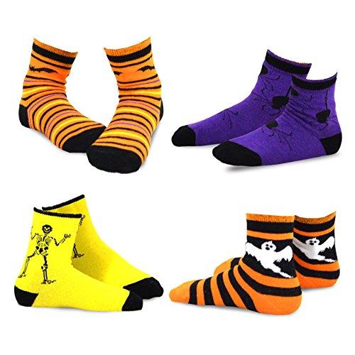 (TeeHee Halloween Kids Cotton Fun Crew Socks 4-Pair Pack (9-10Y, Happy Halloween)