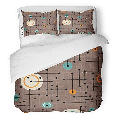 Emvency Decor Duvet Cover Set King Size Brown Mod 1950S Retro Pattern of Lines and Circles Design Linen Overlay Green Dots 3 Piece Brushed Microfiber Fabric Print Bedding Set Cover