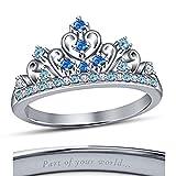 Round Cut Multi-Stone 14K White Gold Plated Cinderella Disney Princess Engagement & Wedding Ring