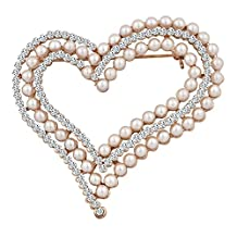 Charmed Craft Wihte Pearl Crystal Brooch Pins Heart Brooches Jewelry For Women Girls Gifts